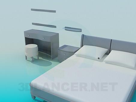 3d model Bed, bedside tables and vanity set - preview
