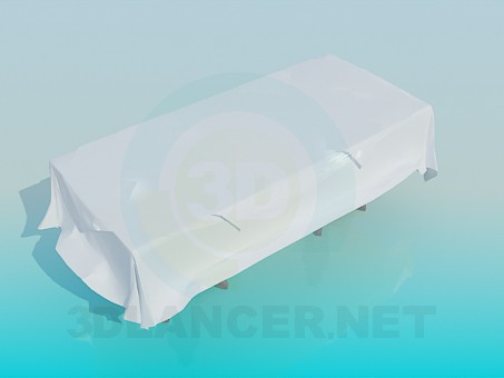 3d model Dining table with tablecloth and napkins - preview