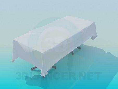 3d модель Обеденный стол покрытый скатертью и салфетками – превью