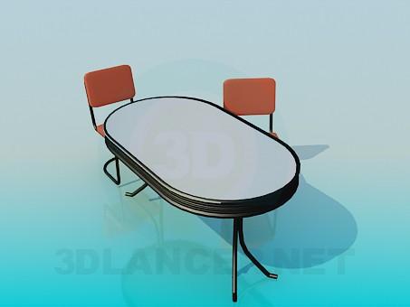 3d model Conjunto de mesa y sillas de oficinas de - vista previa