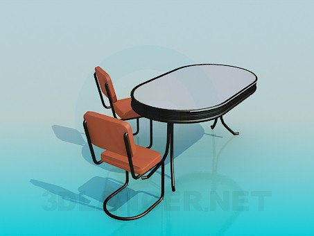 3d model Office set of table and chairs - preview