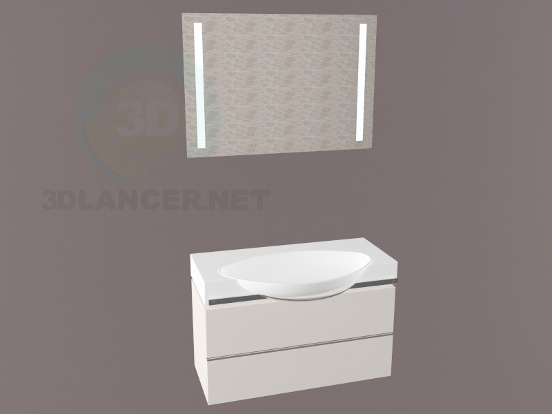 3d model Laufen sink with cabinet 900 - preview