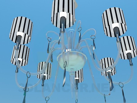 3d model Chandelier with ceiling paintings of the Zebra - preview