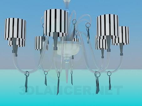 modelo 3D Lámpara Chandelier con pinturas en el techo de la cebra - escuchar