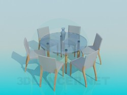 Mesa redonda de chá e 6 cadeiras