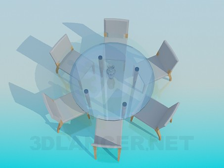 modelo 3D Mesa de té redonda y 6 sillas - escuchar