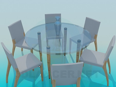 3d model Round tea table and 6 chairs - preview