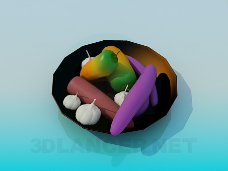 3d model Dish with vegetables - preview
