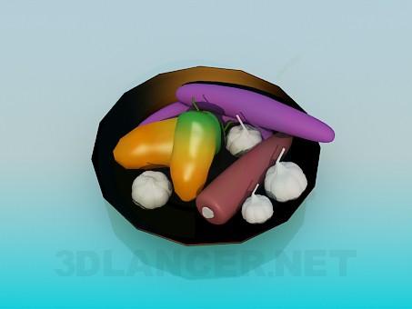3d модель Блюдо с овощами – превью