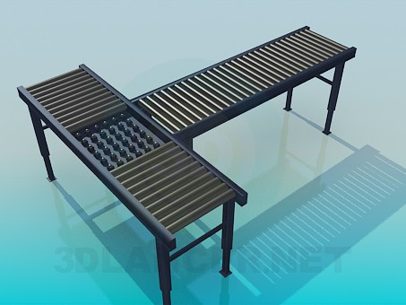 3d model T-shaped bench - preview