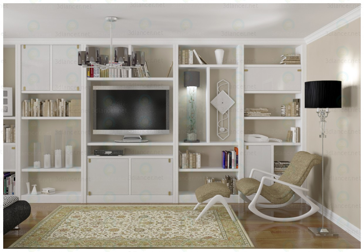 3d model bookcase for living room in the style of for Living room 3d model