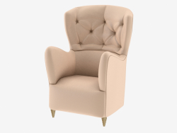 Armchair with curly armrests