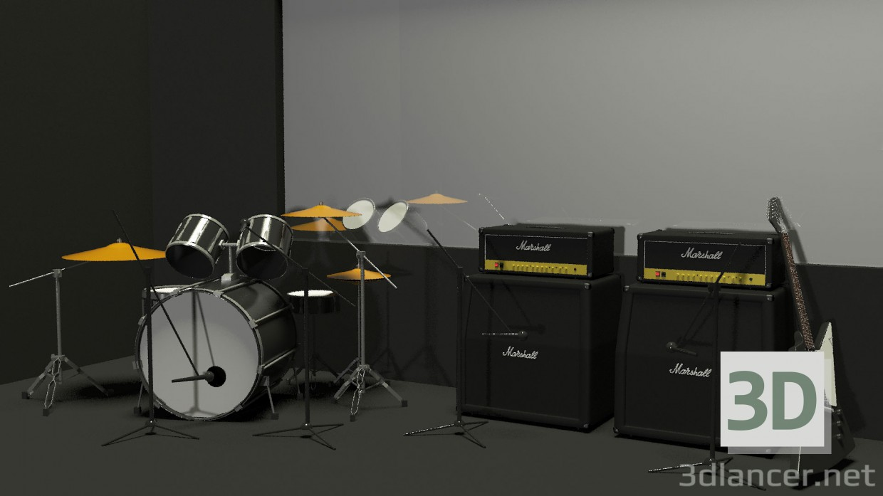 3d modeling The Interior of a recording studio model free download