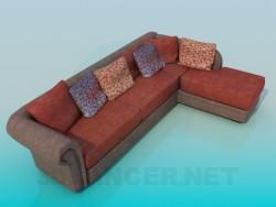 Corner sofa with pillows