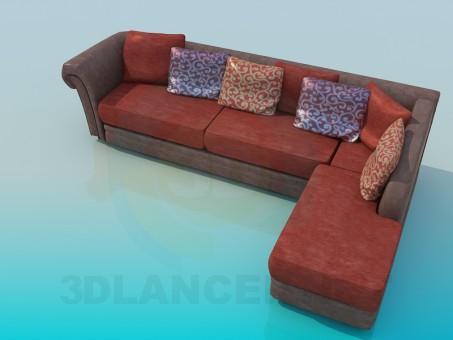 3d модель Диван угловой с подушками – превью