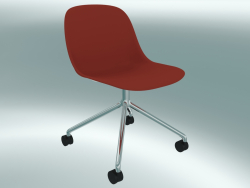 Chaise pivotante en fibre sur 4 roues (Dusty Red, Chrome)