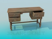 Wooden writing desk with drawers