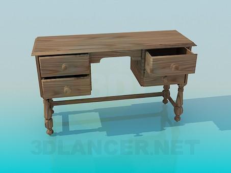 3d моделирование Деревянный письменный стол с выдвижными ящиками модель скачать бесплатно