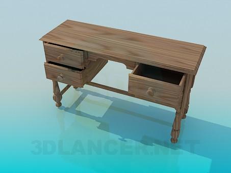 3d модель Деревянный письменный стол с выдвижными ящиками – превью