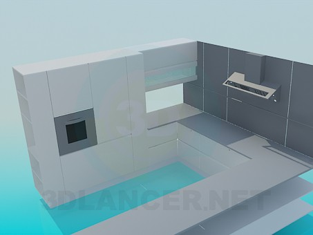 3d model Kitchen in high-tech style - preview