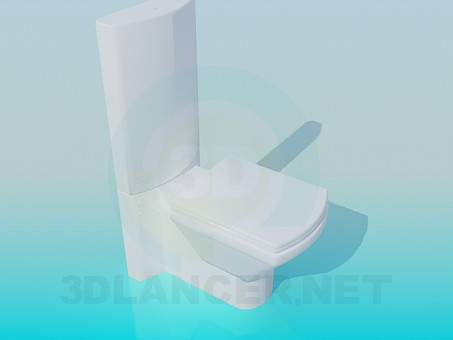 3d model Toilet with high discharge toilet - preview
