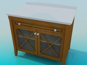 Bedside table with transparent doors