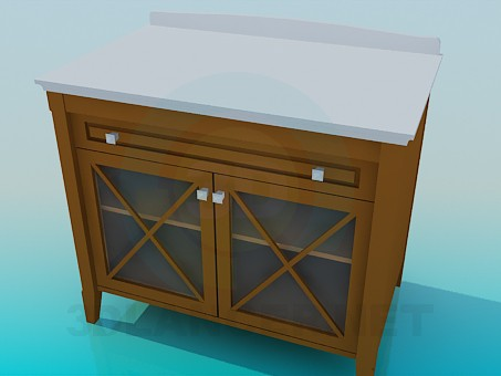 3d model Bedside table with transparent doors - preview