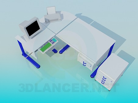 3d model Computer desk and bedside table - preview
