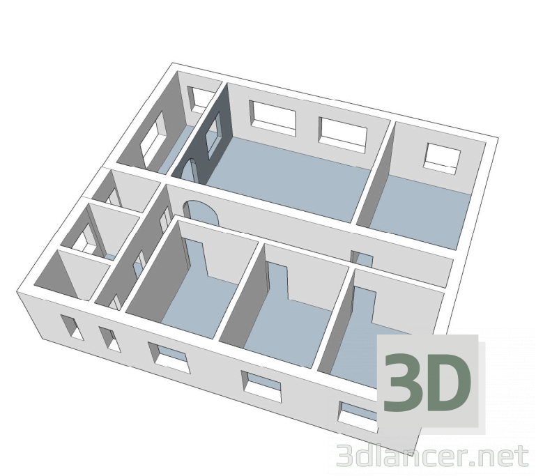 3 डी मॉडल घर का ढाँचा - पूर्वावलोकन