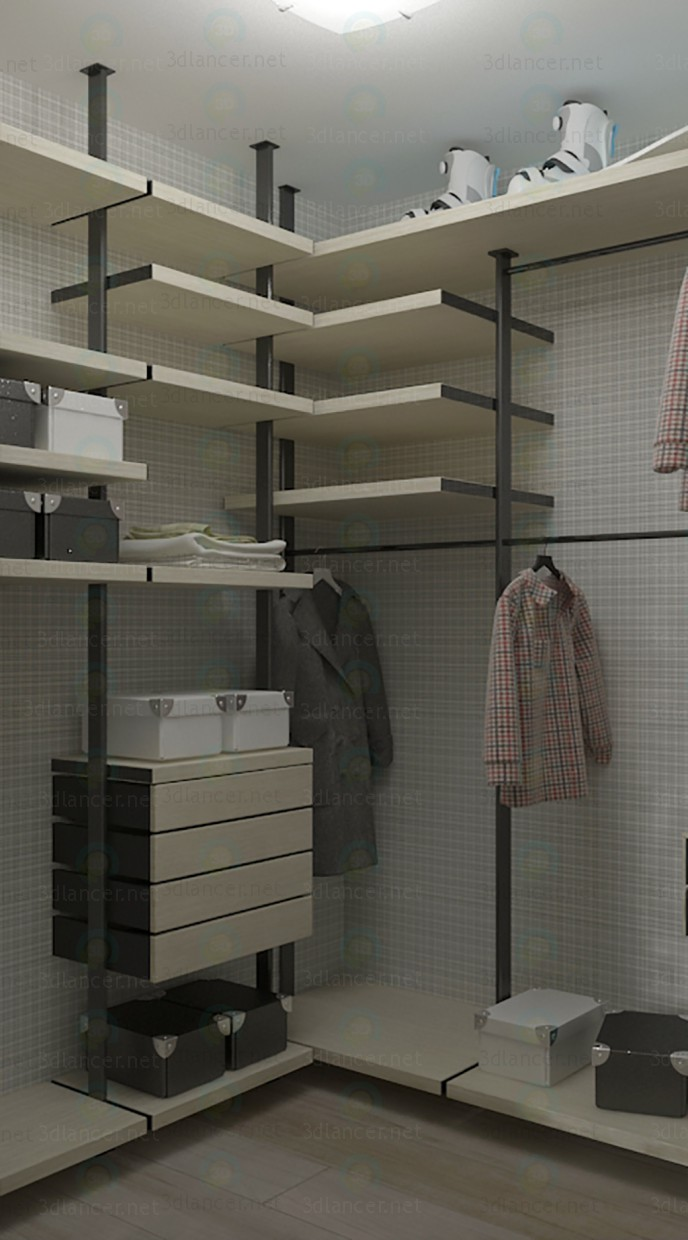 3d model modern dressing room 1680x1870x2830 h mm style for Configurateur dressing 3d
