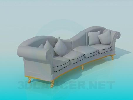 modelo 3D Sofá con almohadas - escuchar
