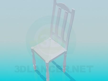 3d модель Деревянный стул с резными ножками – превью
