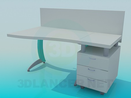 modelo 3D Mesa de la oficina - escuchar
