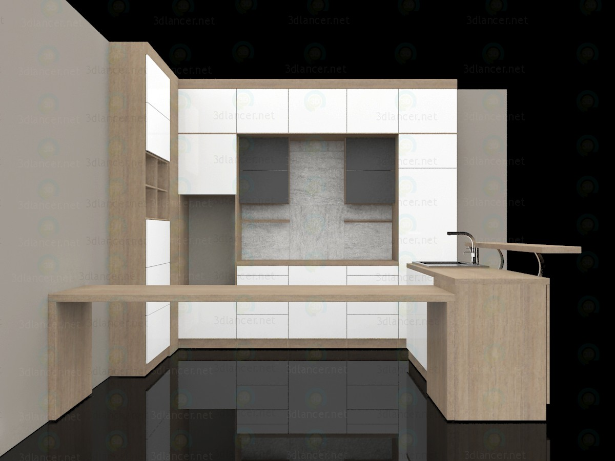 3d model Kitchen with island, minimalism. 3500x3480x2770 (h) mm - preview