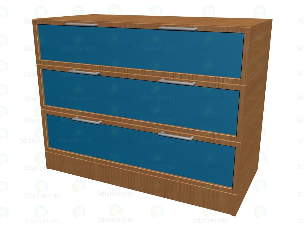 modèle 3D Poitrine de tiroirs 3 boîtes K703 - preview