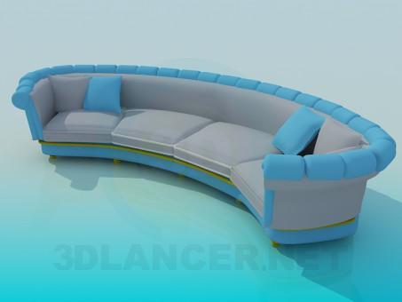 modelo 3D Sofá semicircular - escuchar