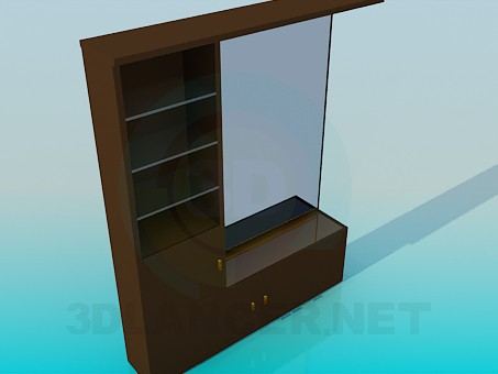 3d model Mirror with pedestal and racks - preview
