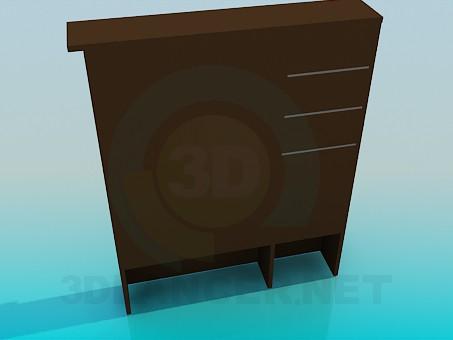 3d модель Зеркало с тумбой и полочками – превью