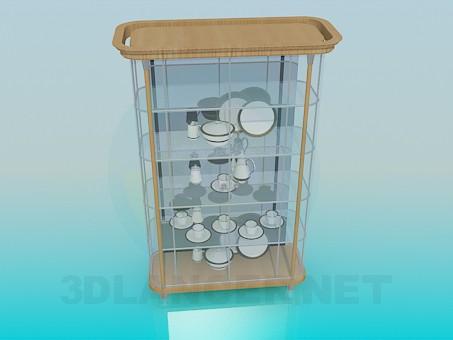 modelo 3D Un aparador con platos - escuchar