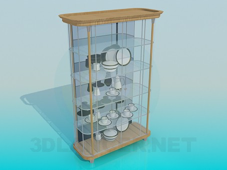 3d model A sideboard with dishes - preview