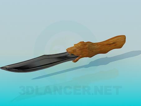 3d модель Нож с деревянной рукояткой – превью