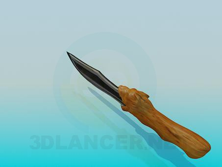 3d model A knife with wooden handle - preview