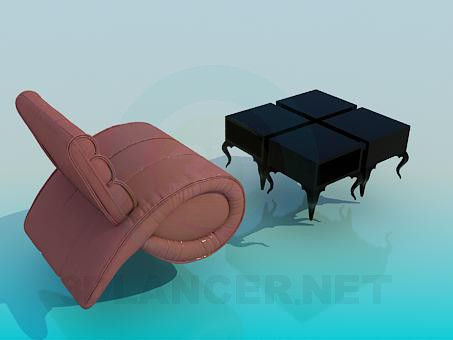 3d model Fancy chair and table - preview