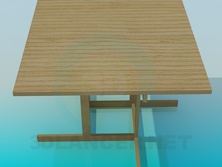 3d modeling Wooden dining table model free download