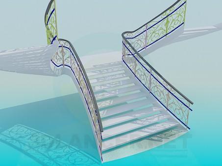 3d модель Лестница с кованными перилами – превью