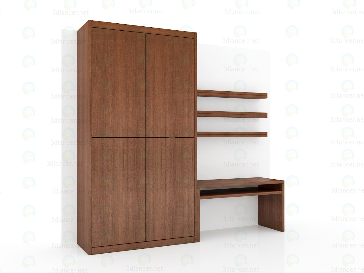 3d модель Встроенная стенка для небольшой спальни – превью