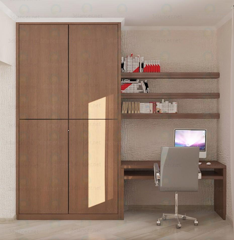 modelo 3D Unidad de pared integrado para dormitorios pequeños - escuchar