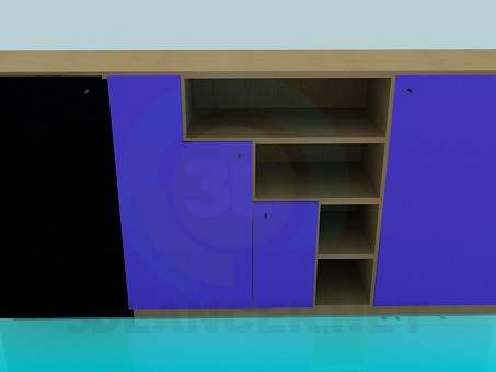 3d modeling Cupboard with open shelves model free download