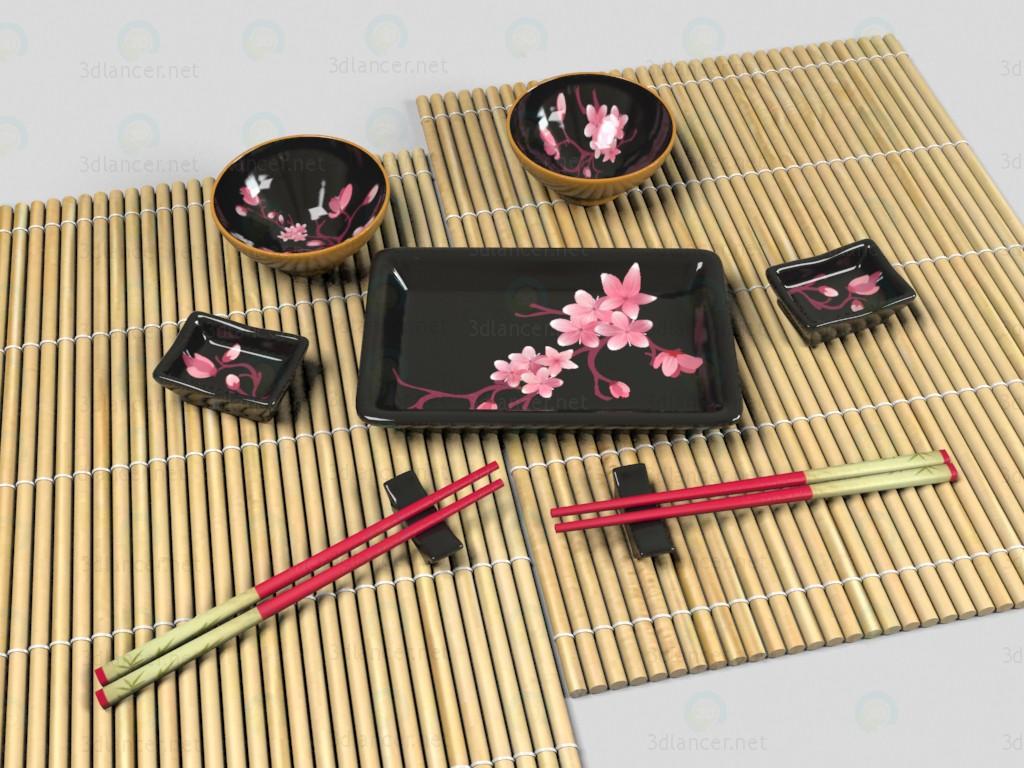 Conjunto de platos para el sushi 3D modelo Compro - render