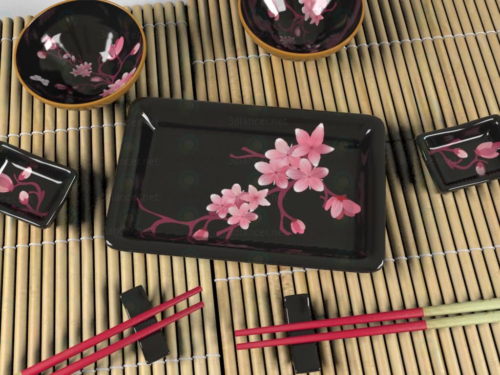 3d Set of dishes for sushi model buy - render